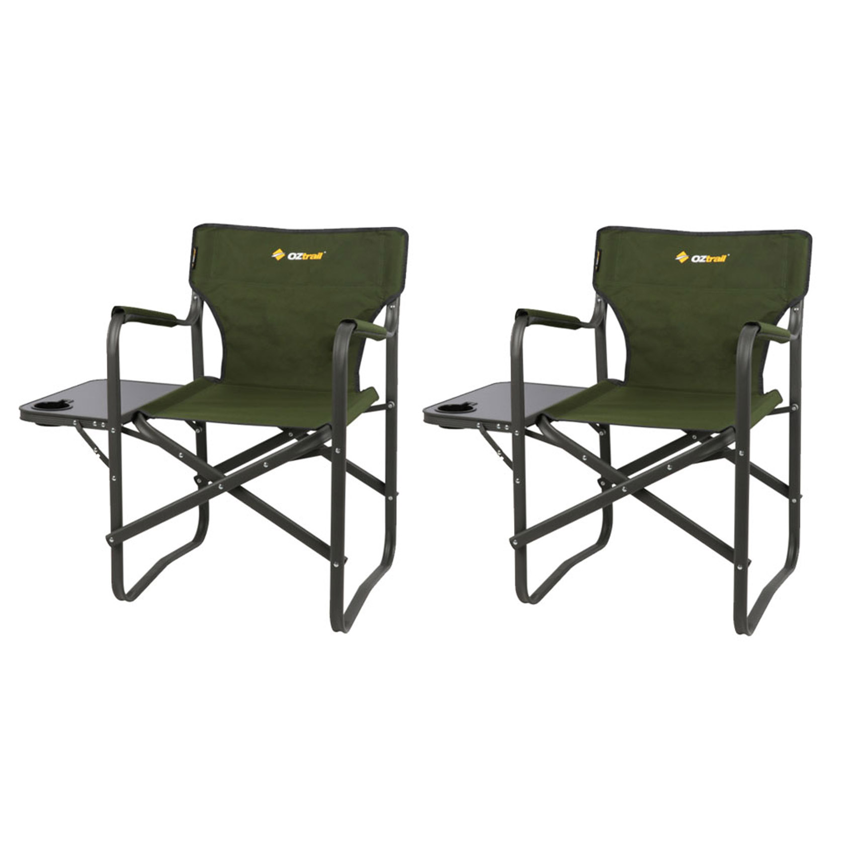 Folding Camp Chair With Side Table Details About 2 X Oztrail Directors Folding Classic Camping Chairs With Side Table Outdoor