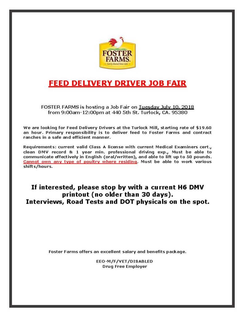 Tuesday, July 10, 2018 Foster Farms Feed Delivery Driver Job Fair