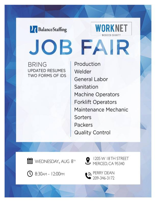 August 8, 2018 Balance Staffing Hiring Event - Worknet