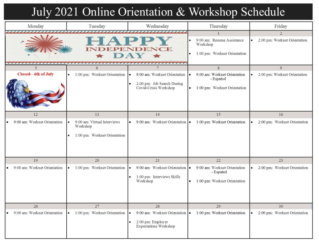July 2021 Workshop Calendar