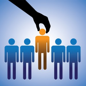 Concept illustration of hiring the best candidate. The graphic s