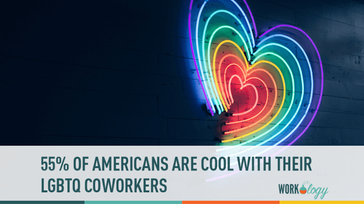 55% of ameeicans are cool with their lesbian, gay, bi, transgender, quer coworkers