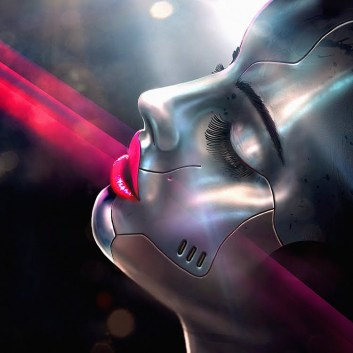 silver-android-female-face-pink-lips-spotlight