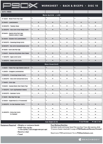 P90x Legs And Back Workout Sheet : workout, sheet, Workout, Schedule, WorkoutWalls