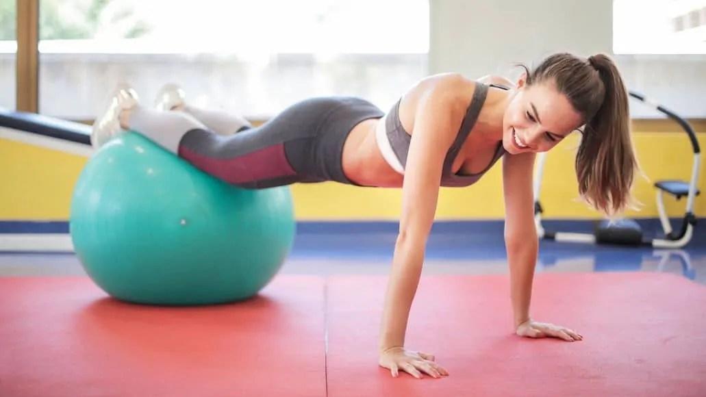 Teen girl doing pushup