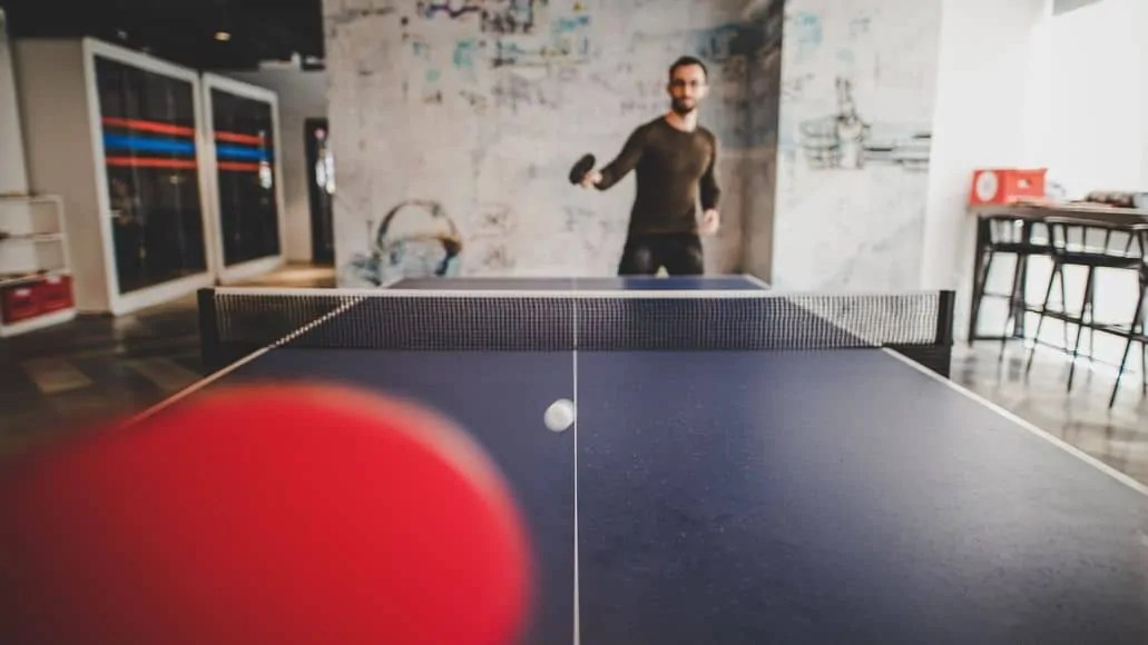 View of opponent in ping pong