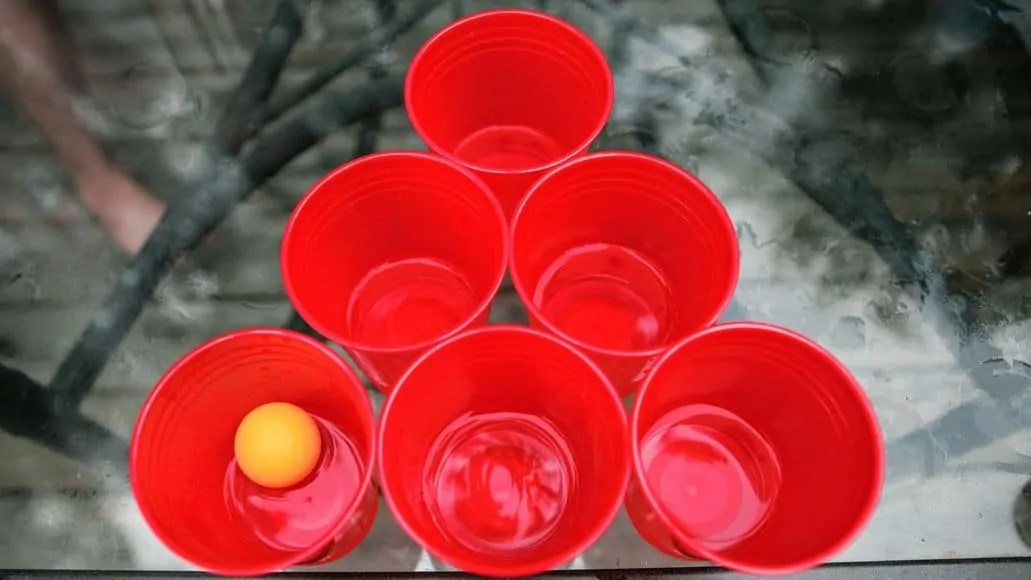 beer pong cups in close formation