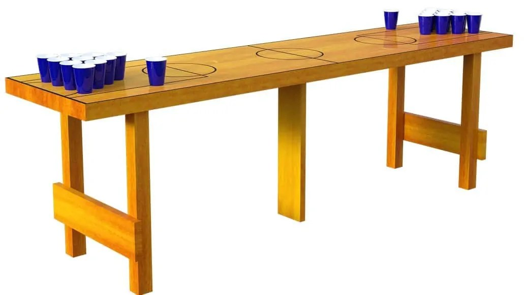 A set up beer pong table