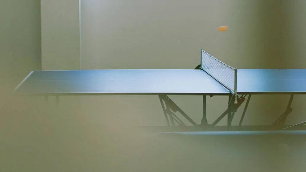 Ping pong ball bouncing on table