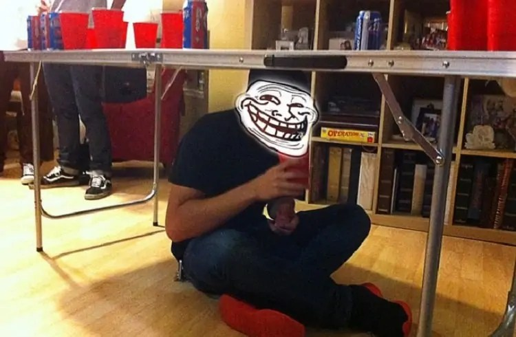 trolling someone in beer pong