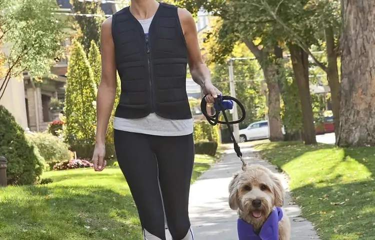 woman walking dog with weighted vest