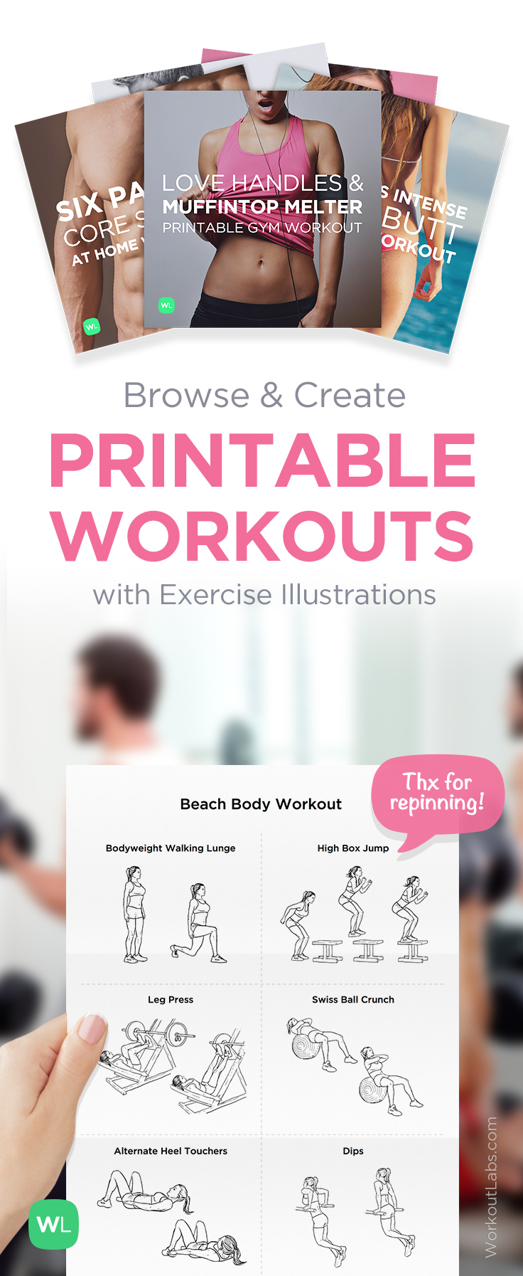 printable workout plans exercise illustrations workoutlabs