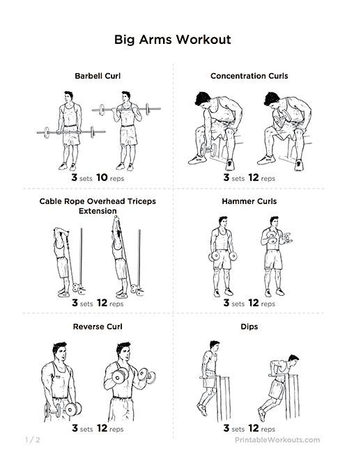 Big Arms Workout: Biceps & Triceps Exercises Printable