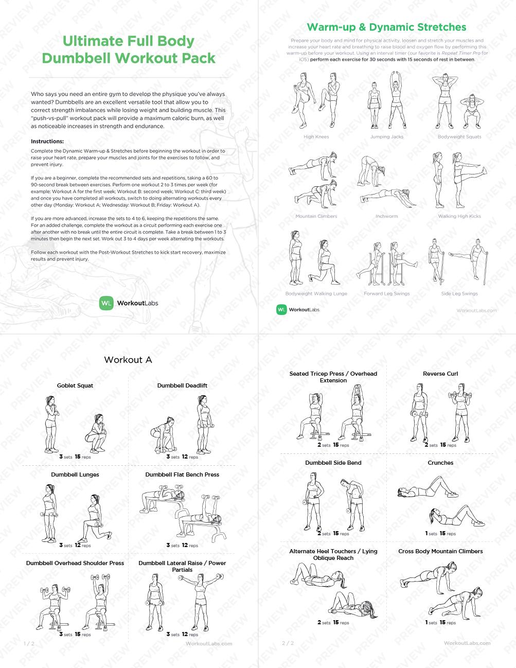 Ultimate Full Body Dumbbell Workout Pack for Men & Women