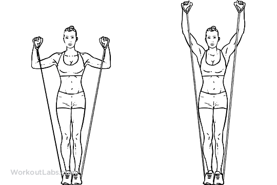 Resistance Band Standing Shoulder Press / Overhead Press