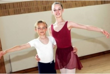 brother and sister doing ballet together