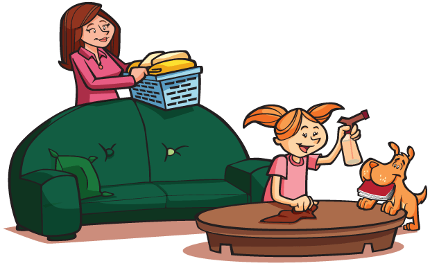 mom and daughter doing chores