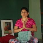 Vidisha performing prenatal yoga