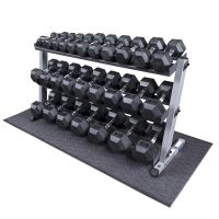 Heavy Duty Rubber Coated Dumbbell Set with Rack 5-70 lbs ...
