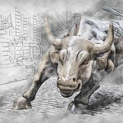 a charging bull depicting bullshit jobs