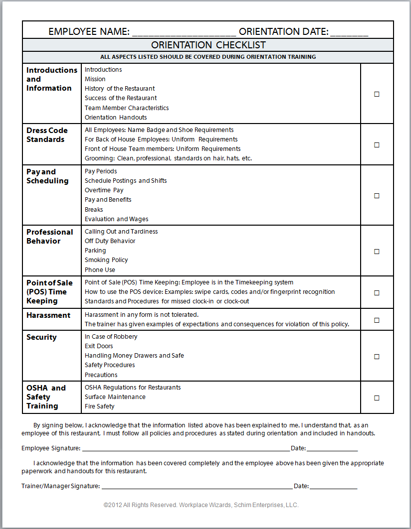 employee orientation checklist