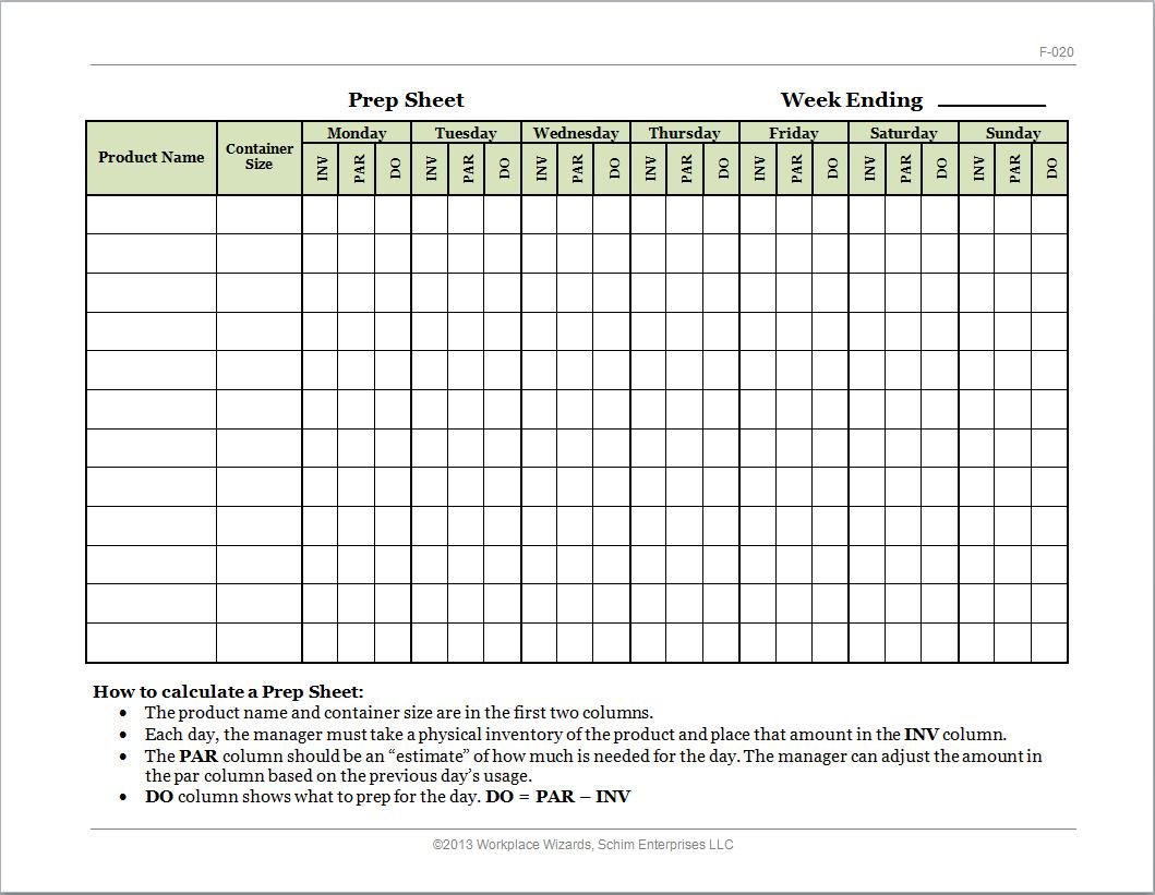 kitchen prep list template