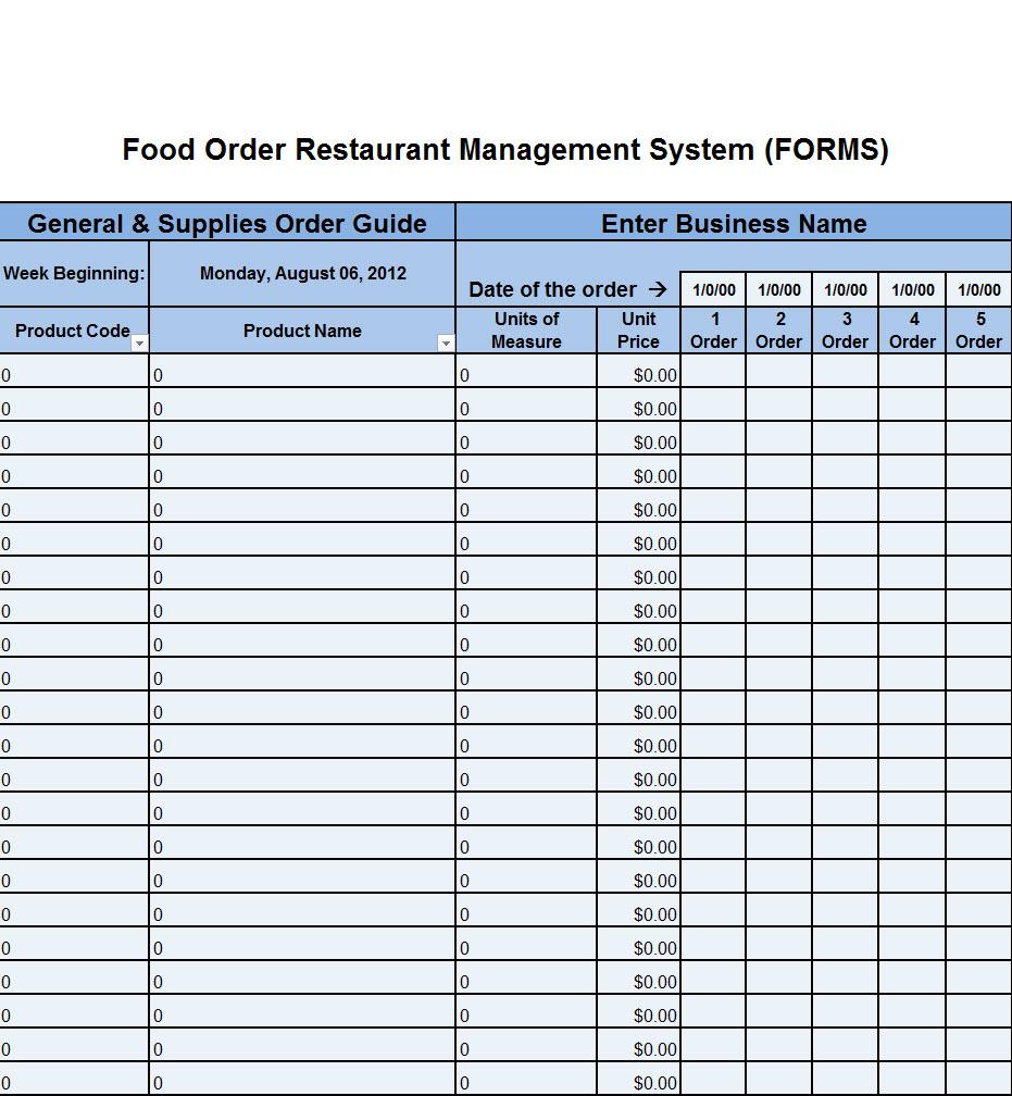 Restaurant Kitchen Forms get organized Now Workplace Wizards
