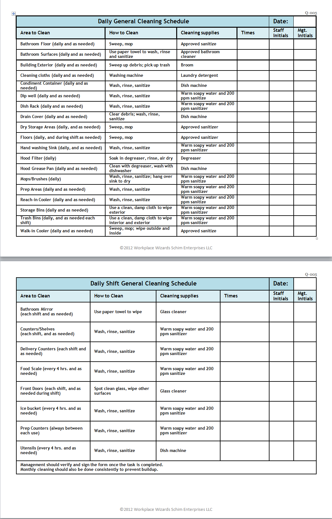 Cleaning Duties Checklist