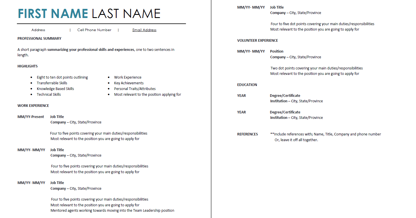 resume cell phone number