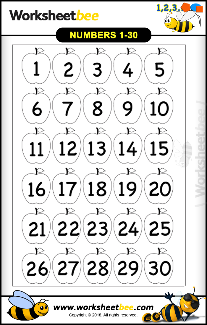 picture regarding Printable Number Line 1-30 named Printable Worksheet Figures 1 30 - Worksheet Bee
