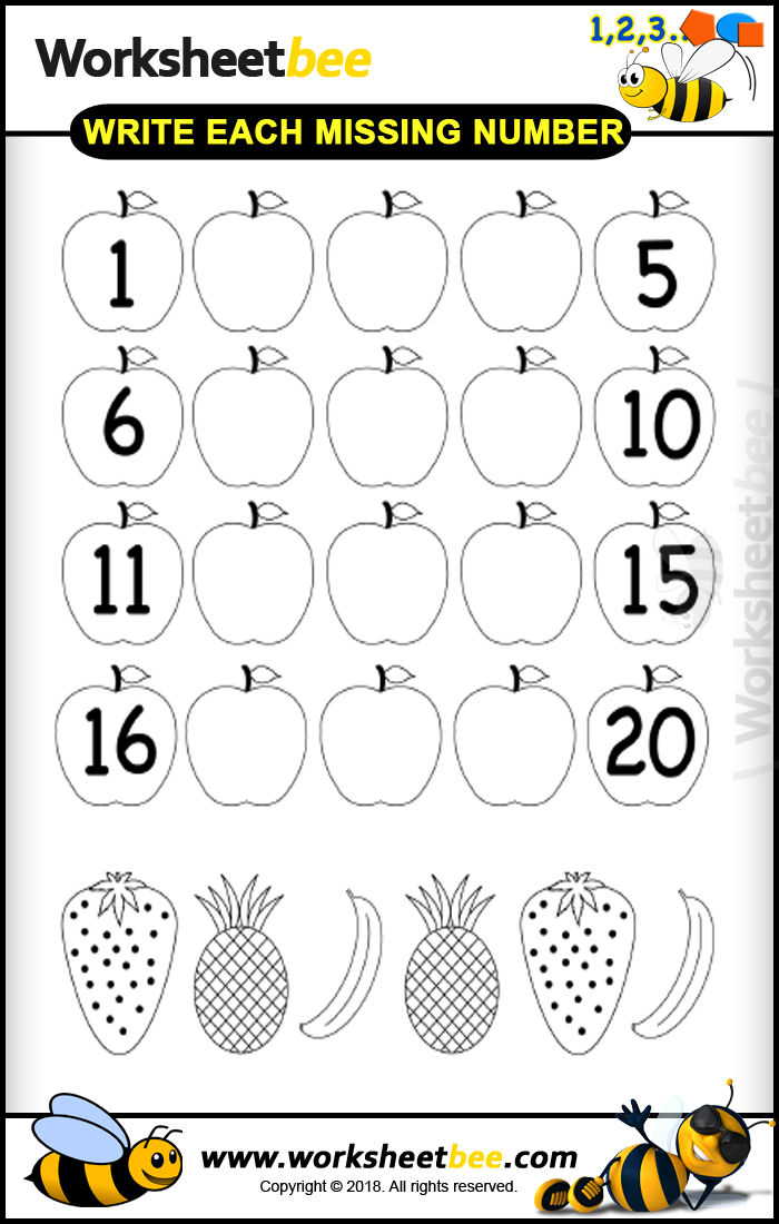 Printable Worksheet For Kids About Write Each Missing Number