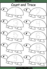 Number Tracing Worksheets For Kindergarten- 1-10  Ten ...