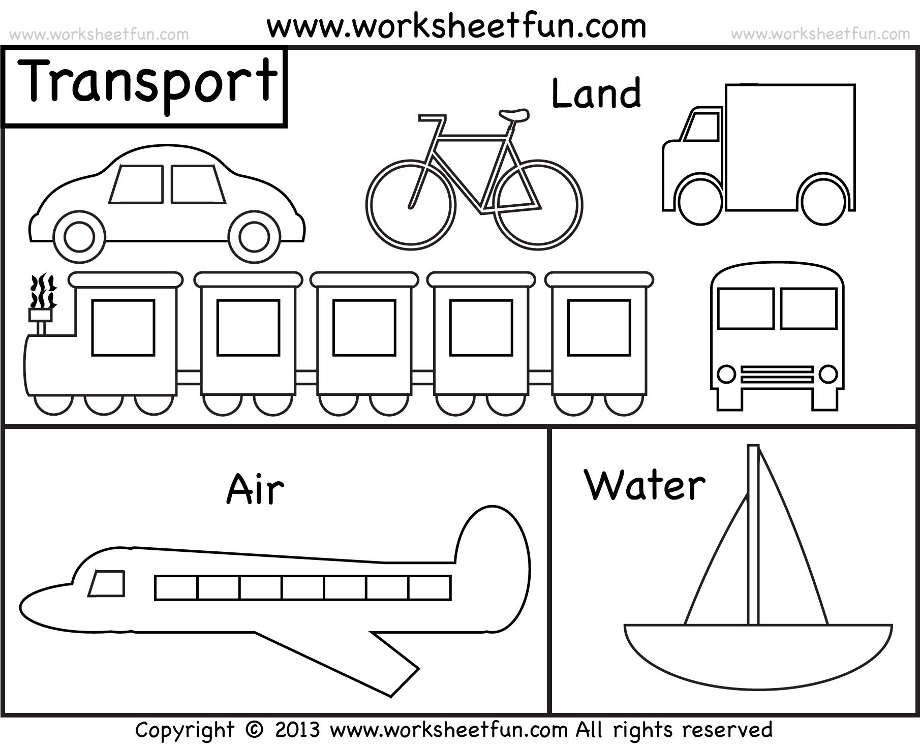 Land Air Water Worksheets Transportation Sketch Coloring Page