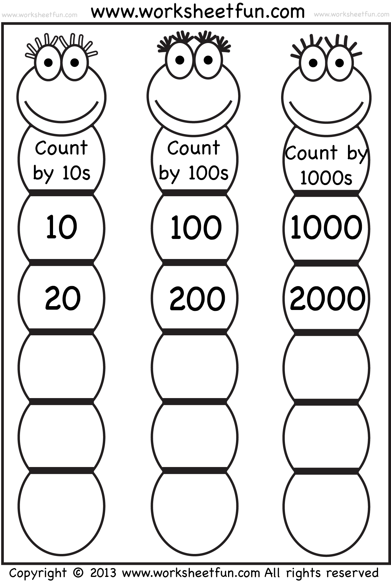Skip Counting By 10, 100 And 1000  Free Printable Worksheets  Worksheetfun
