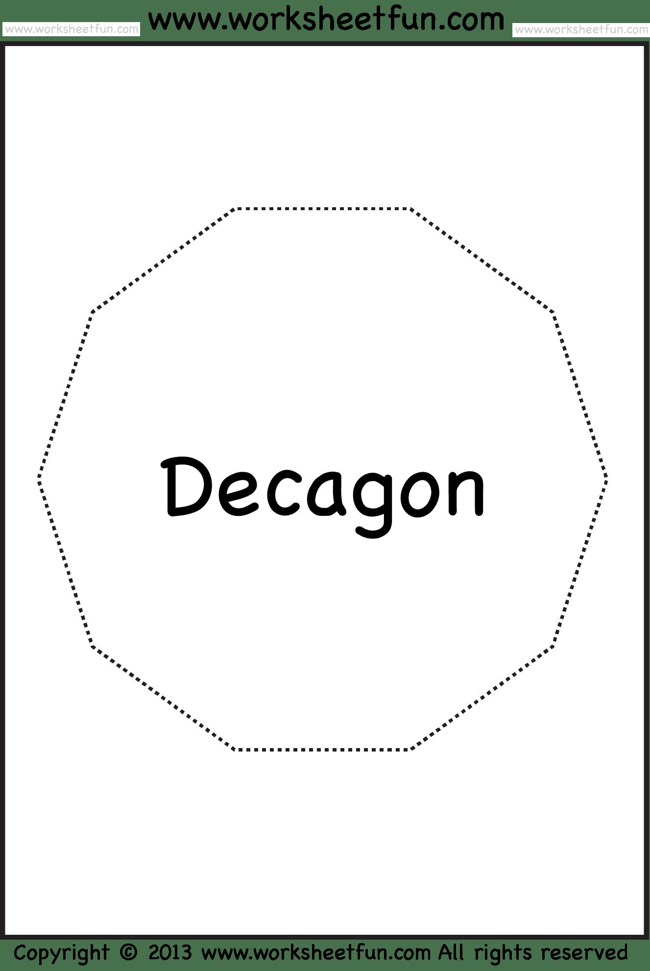 Shapes Pentagon Hexagon Heptagon Octagon Nonagon Decagon 13 Worksheets Free Printable