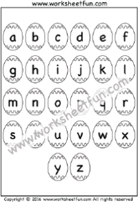 Small Letter A To Z : small, letter, Letters, Alphabet, Chart, Printable, Worksheets, Worksheetfun