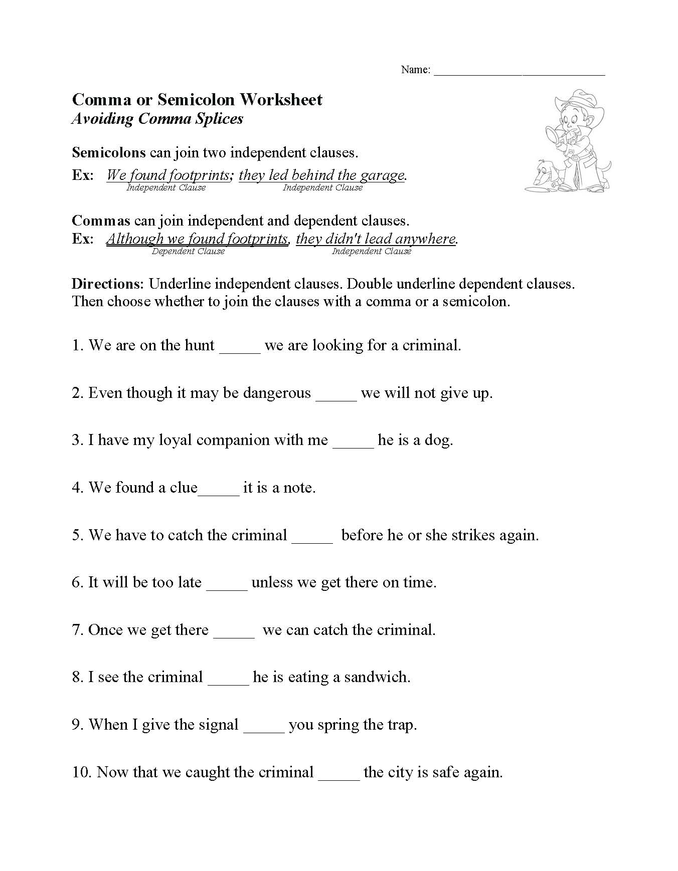 Comma Or Semicolon Worksheet