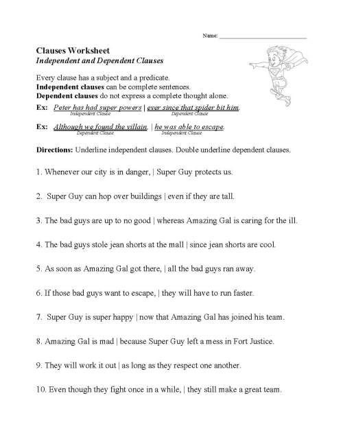 small resolution of Phrases And Clauses Worksheet   Printable Worksheets and Activities for  Teachers