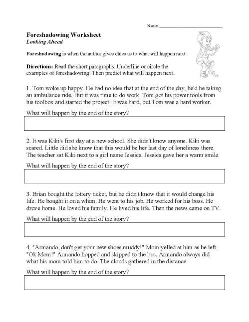 small resolution of Foreshadow And Flashback Worksheet   Printable Worksheets and Activities  for Teachers