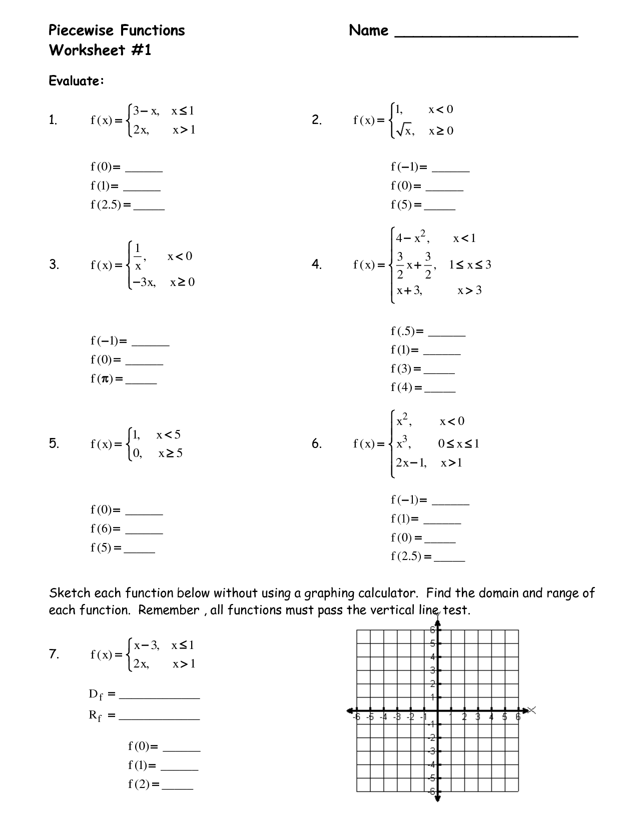 10 Best Images Of Algebra 2 Piecewise Function Worksheets  Piecewise Functions Worksheet, Graph