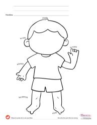 body parts worksheets kindergarten printable worksheet printables spanish preschool visual memory game child listening activities monarcalanguage tracing practicing keep while