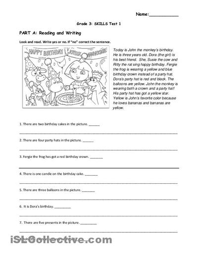 12 Best Images Of Reading Worksheets Theme Birthday  Reading Comprehension Worksheets Grade 3