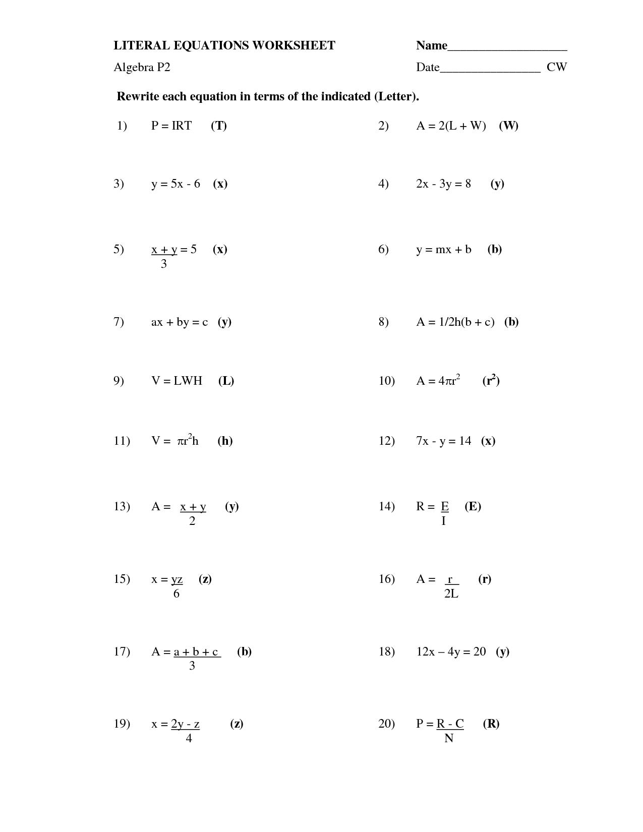 13 Best Images Of Literal Equations Worksheet Algebra 2 Math  Literal Equations Worksheet