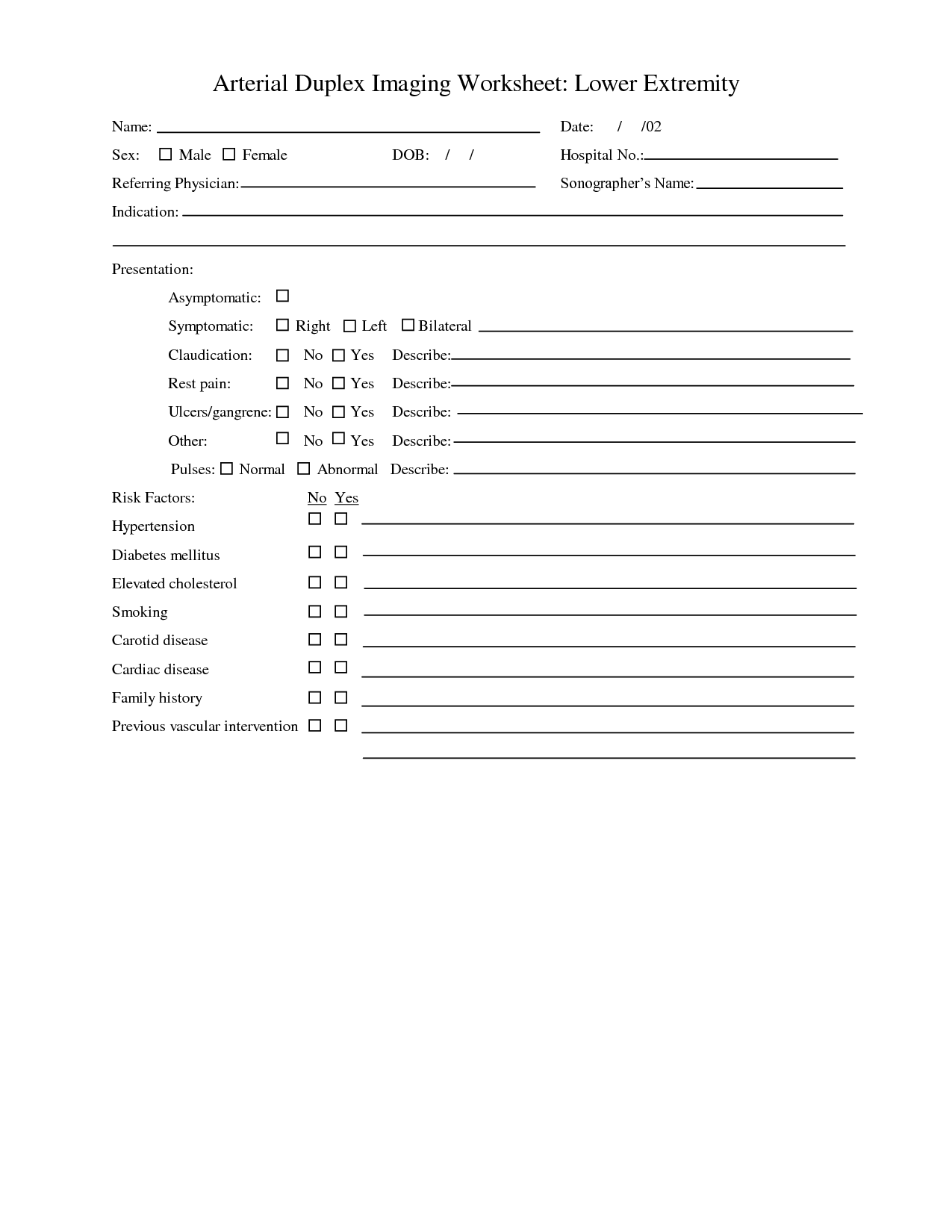 Arterial Ultrasound Worksheet
