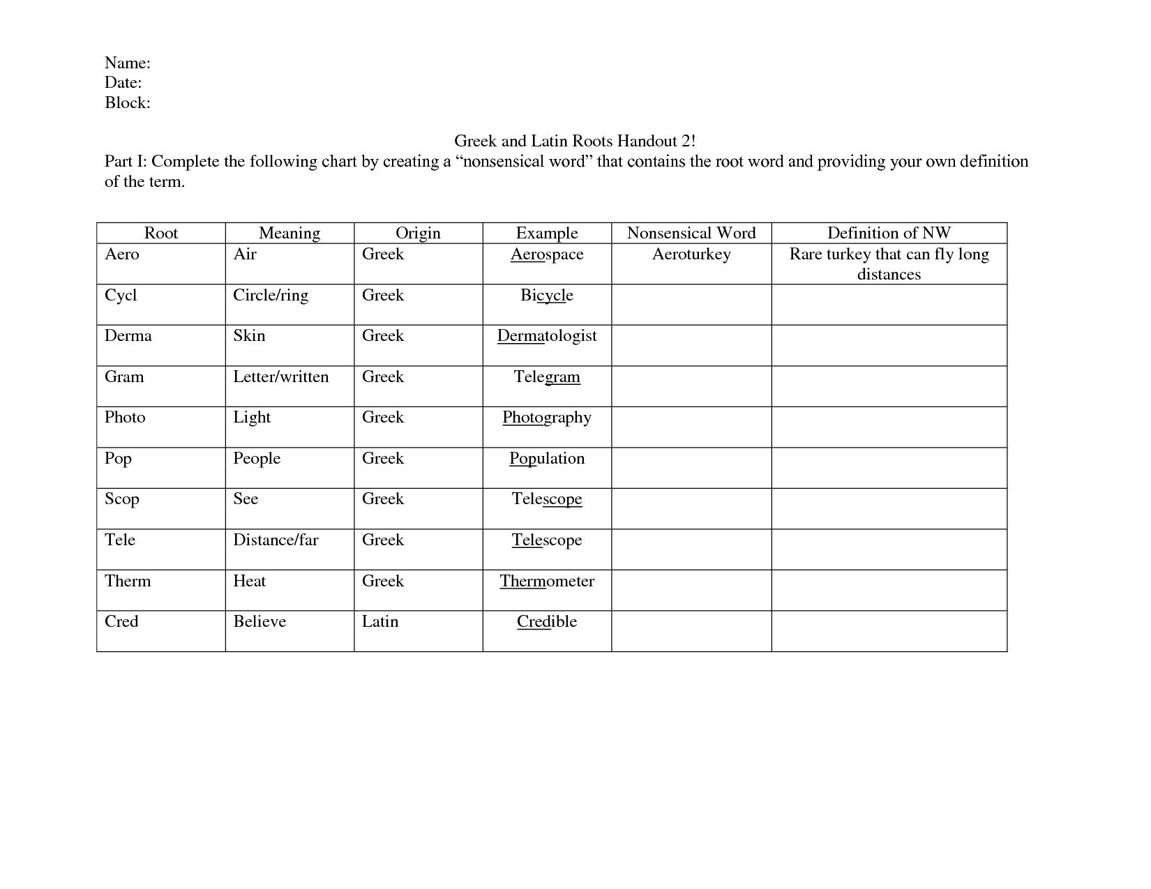 Root Word Find Worksheet
