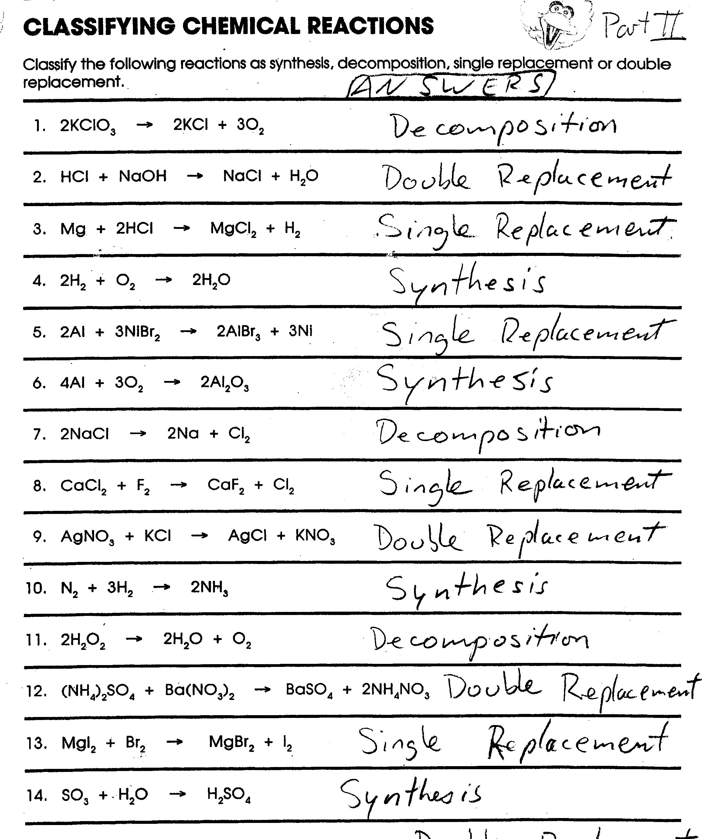 17 Best Images Of Balancing Chemical Equations Worksheet 1  Balancing Chemical Equations