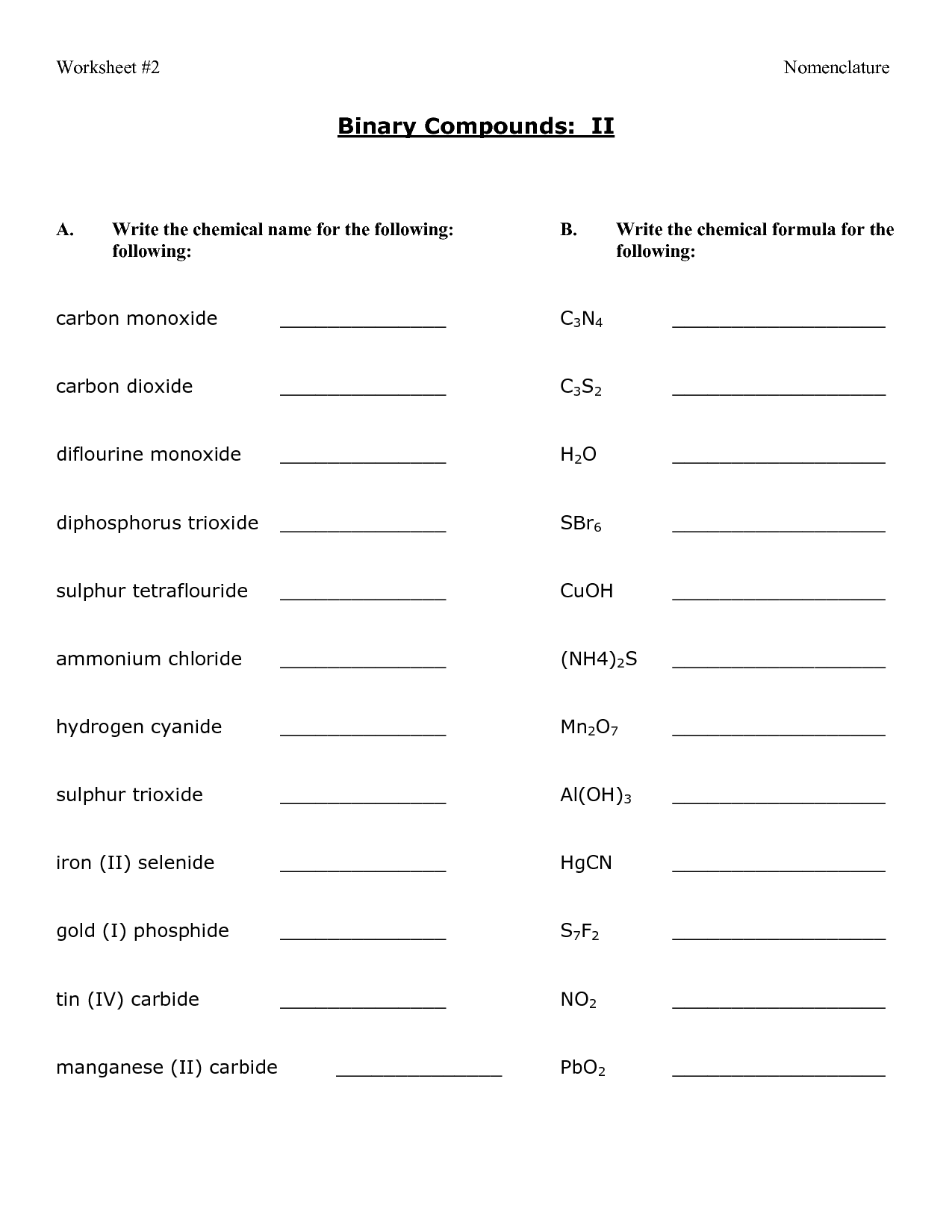 12 Best Images Of Compound Names And Formulas Worksheet  Writing Ionic Compound Formula