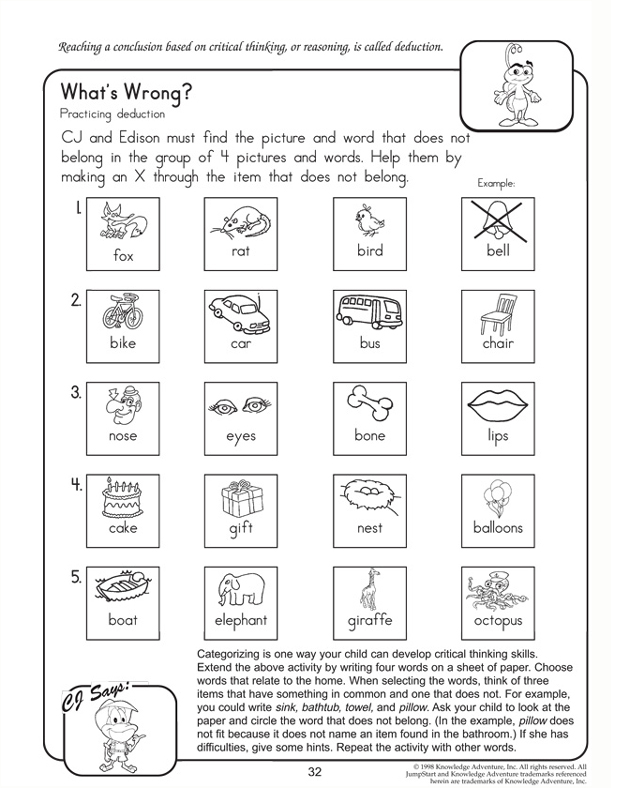 Critical Thinking Reading Worksheets