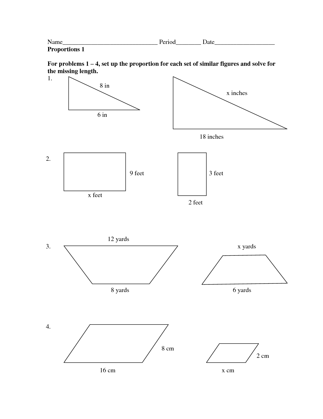 13 Best Images Of Similar Figures Worksheet  Similar Triangles And Polygons Worksheet, Similar