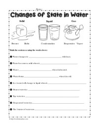 Changes of State in Water Worksheets